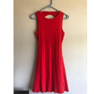 LuLu's Sleeveless Knee Length Open Back Red Dess